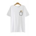 Funny Doge Dog Printed Fake Pocket Round Neck Short Sleeves Summer T-shirt