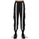 Trendy Striped Pattern Drawstring Waist Loose Leg Double Pockets Joggers Pants