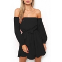 Fashionable Off the Shoulder Long Sleeves Bow Tie Belted Ruffle Hem Mini A-line Dress