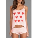 New Stylish Heart Print Cami Shorts Pajamas Co-ords