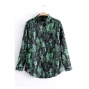 Trendy Cactus Allover Pattern Point Collar Long Sleeves Button Down Shirt