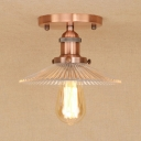 Industrial 8.7''W Flushmount Ceiling Light with Ribbed Glass Shade in Vintage Style