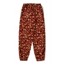 New Trendy Fire Print Elastic Waistband Loose Pants
