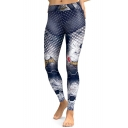Chic Graffiti Star Printed Slim-Fit Elastic Waist Leggings