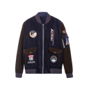 Badge Letter Color Block Print Stand-Up Collar Long Sleeve Zipper Jacket