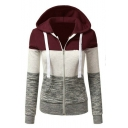 Hot Fashion Color Block Long Sleeves Zippered Hoodie with Pockets