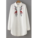 Trendy Floral Embroidered Lapel Long Sleeve Single Breasted Tunic Shirt