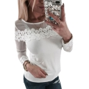 Chic Round Neck Sheer Lace Yoke Long Sleeve Plain T-Shirt