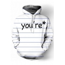 Classic Striped Letter Print Long Sleeve Pocket Leisure Hoodie