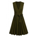 Stylish V-Neck Bow Tie Belted Plain Wrap Front Midi Dress