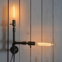 Industrial Simple 2 Light Multi Light Wall Sconce in Open Bulb Style, Black