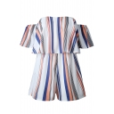 Hot Sale Striped Print Off Shoulder Short Sleeve Rompers