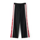 Pop Fashion Zipper Fly Striped Side Button Detail Wide Leg Loose Pants