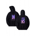 Trendy Number Letter Print Long Sleeve Casual Pocket Hoodie