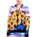 Elegant Sunflower Oil-Painting Pattern Contrast Trim Zippered Jacket with Pockets