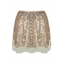 New Stylish Sequined Plain Zip Fly Mini A-Line Skirt