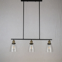 Industrial 34''W Island Light with Clear Glass Shade in Black Finish, 3 Light