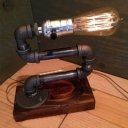 Industrial Vintage Table Lamp with Pipe Fixture Arm in Bar Style