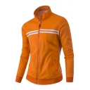 Color Block Stripes Long Sleeve Stand Up Collar Zip Up Sweatshirt with Pockets