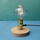Industrial Mini Desk Lamp with Wooden Lamp Base in Open Bulb Style