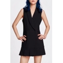 Simple Plain Wrap Front V Neck Sleeveless Double Buttons Mini Cami Dress