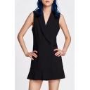 Simple Plain Wrap Front V Neck Sleeveless Double Buttons Mini Cami Dress