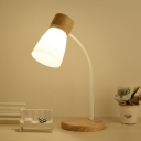 Industrial Nordical 18''H Desk Lamp with White Metal Shade and Wooden Lamp Base