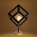 Industrial 6.3''W Table Lamp with Cube Metal Cage in Nordical Style, Black/White