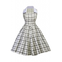 Retro Square Neck Collared Sleeveless Plaids Printed Midi Fit Flare Dress