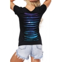 Trendy Cutout Hollow Back Galaxy Pattern Scoop Neck Layered Tee