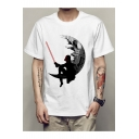 Hot Sale Lonely Man Moon Printed Round Neck Short Sleeve Tee