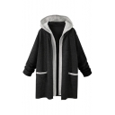 Color Block Fake Two-Piece Long Sleeve Loose Tunic Hooded Coat