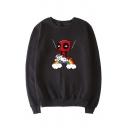 Comic Cartoon Ninja Unicorn Rainbow Printed Round Neck Long Sleeve Pullover Sweatshirt