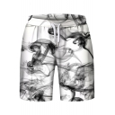 Unique Smoke Print Drawstring Waist Sports Monochrome Shorts
