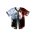 Stylish Contrast Tai Chi Wolf Print Button Front Short Sleeve Sports T-shirt
