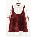 Girlish Gingham Plaids Color Block Peter Pan Collar Lace-up Sleeve Smock Mini Dress