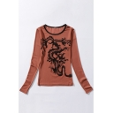 Sexy Comfort Sheer Contrast Round Neck Dragon Printed Long Sleeve Tee