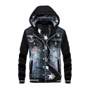Leisure Color Block Denim Patchwork Long Sleeve Zip Up Hooded Coat
