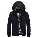 Cool Camouflaged Padded Hooded Zip Up Letter Embroidered Spring Jacket