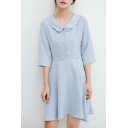 Ladylike Plain Scallop Collar Button Front A-line Mini Dress