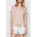 Contrast Gold Trim Round Neck Short Sleeve Leisure Tee