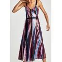 Hot Fancy Spaghetti Straps Striped Pattern Sequined Wrap Cami Midi Dress