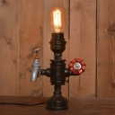 Industrial Vintage Table Lamp with Valve in Pipe Style, Black