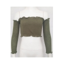 Fashionable Ruffle Hem Long Sleeve Plain Off the Shoulder Cropped Sweater