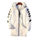 Men's Fashion Striped Long Sleeve Letter Pattern Zip Up Hooded Longline Coat