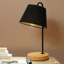 Industrial 15.35''H Table Lamp with Fabric Shade in Nordical Style, Black/White