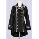 Double Breasted Notched Lapel Collar Long Sleeve Lace Inserted Asymmetric Hem Coat
