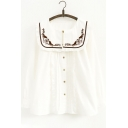 Elegant Cat Letter Embroidered Round Neck Button Down Long Sleeves Pleated Shirt