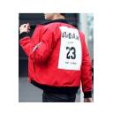 Cool Street Fashion Letter Number Print Zip Up Pocket Detail Bomber Jacket