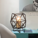 Industrial 6''W Table Lamp with Metal Cage in Black Finish